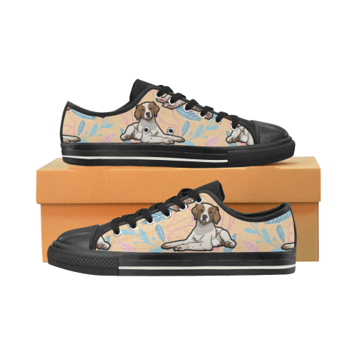 Brittany Spaniel Flower Black Men's Classic Canvas Shoes - TeeAmazing