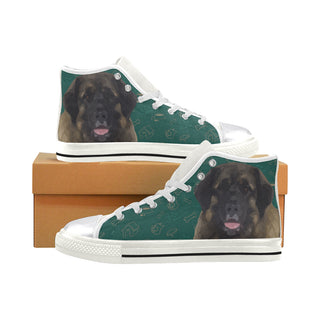 Leonburger Dog White Women's Classic High Top Canvas Shoes (Model 017) - TeeAmazing