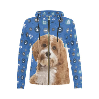 Cavapoo Dog All Over Print Full Zip Hoodie for Women (Model H14) - TeeAmazing