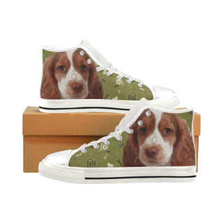 Sprocker Dog White Men's Classic High Top Canvas Shoes (Model 017) - TeeAmazing