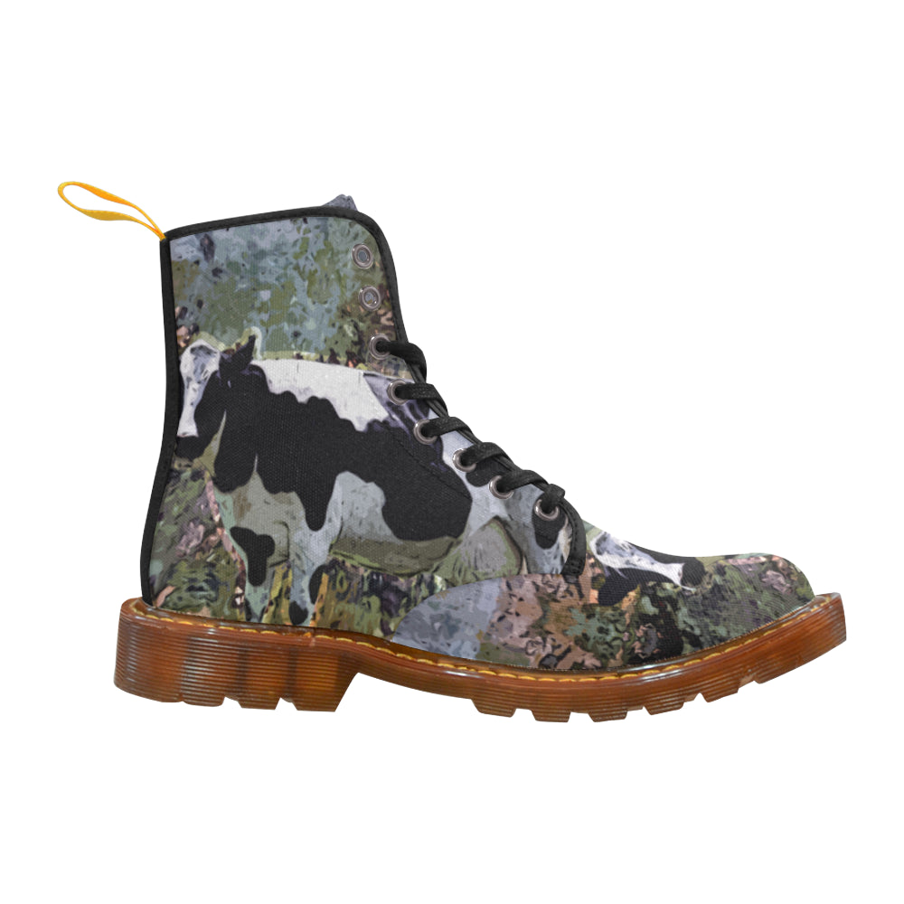 Cow Black Boots For Women - TeeAmazing