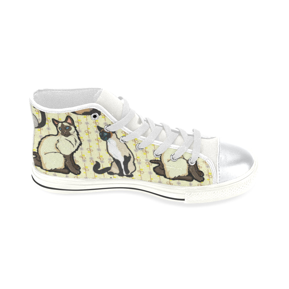 Siamese White High Top Canvas Shoes for Kid (Model 017) - TeeAmazing