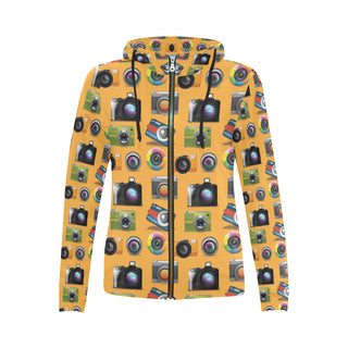 Photographer Pattern All Over Print Full Zip Hoodie for Women (Model H14) - TeeAmazing
