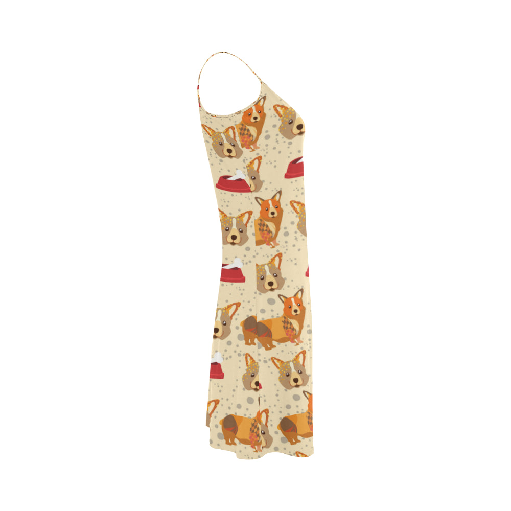 Corgi Pattern Alcestis Slip Dress - TeeAmazing