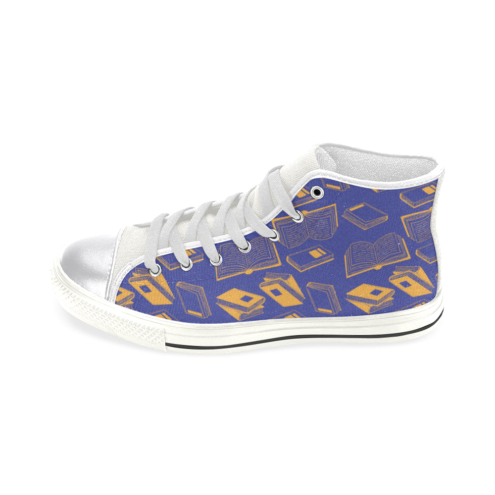 Book Pattern White Women's Classic High Top Canvas Shoes - TeeAmazing