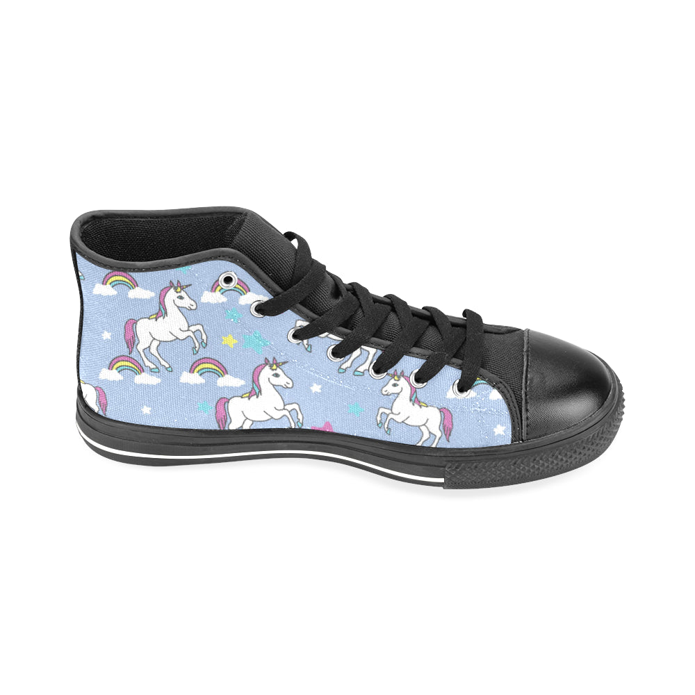 Unicorn Pattern Black Men's Classic High Top Canvas Shoes /Large Size - TeeAmazing