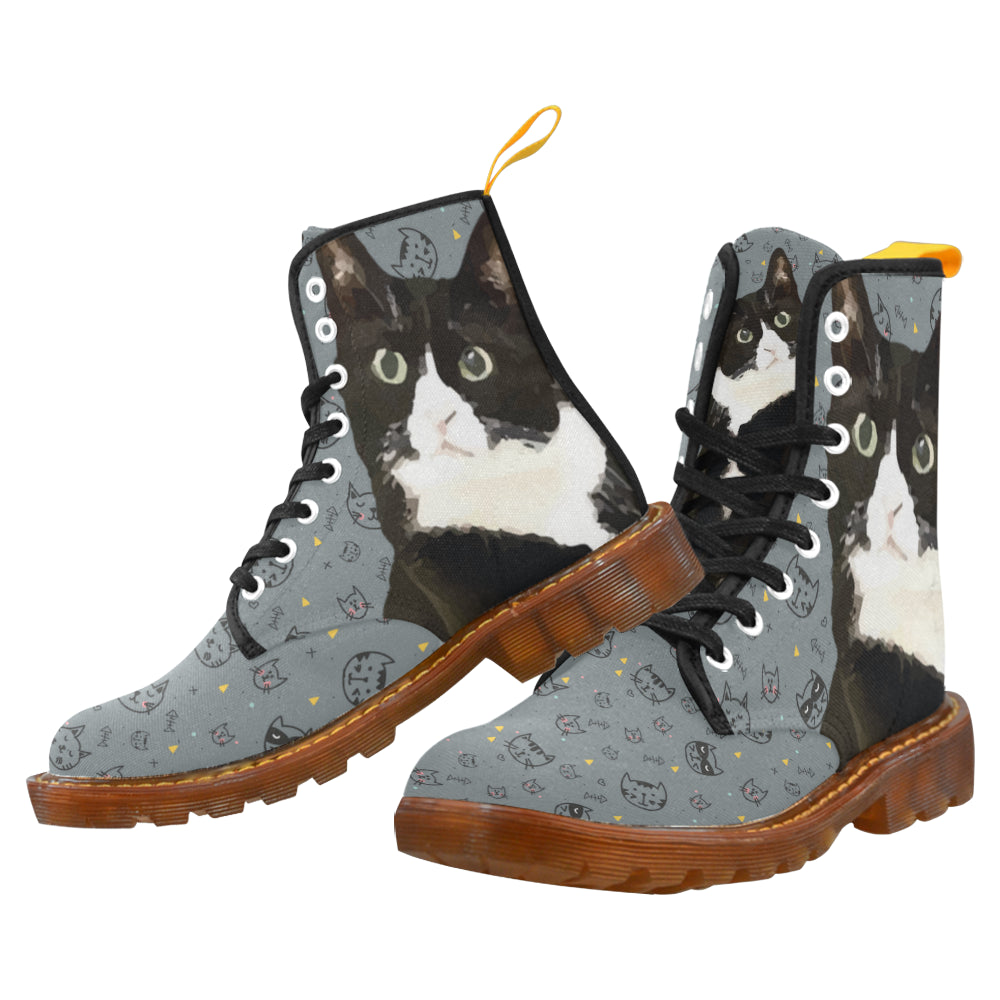 Tuxedo Cat Black Boots For Men D2099509