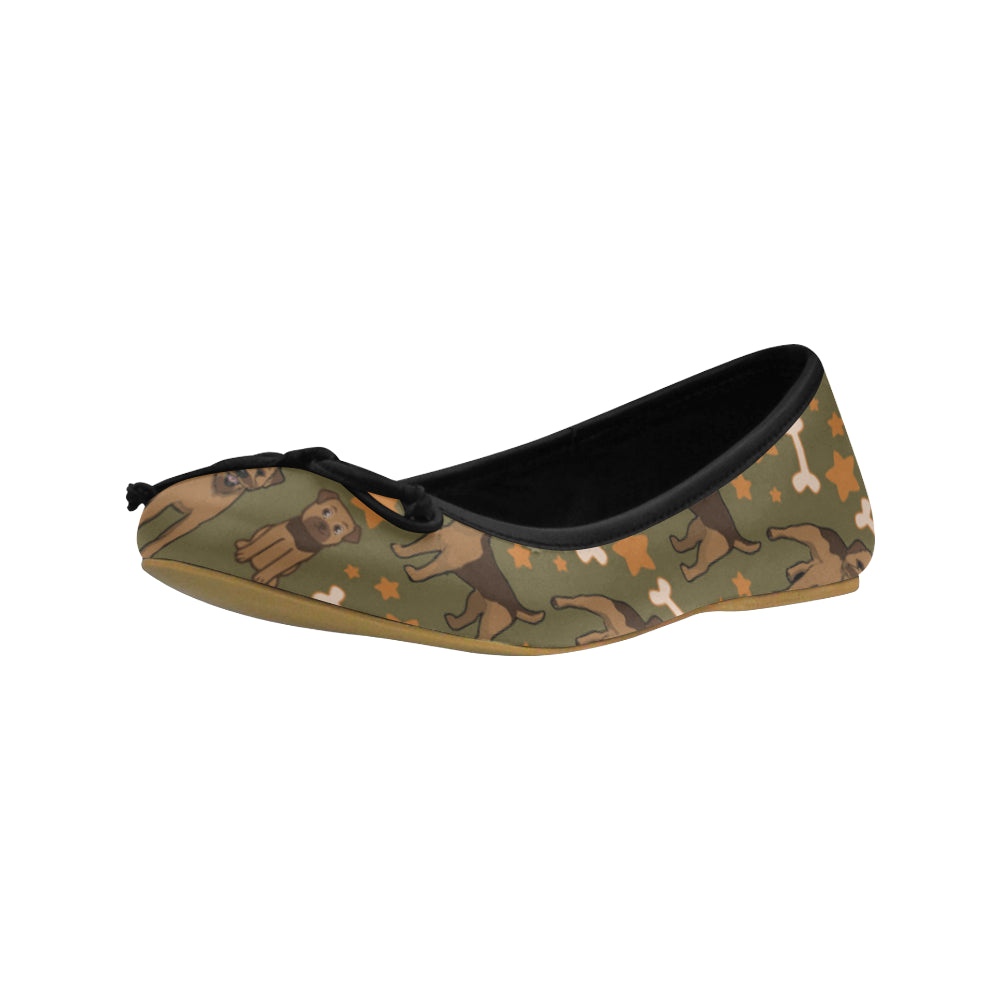 Border Terrier Pattern Juno Ballet Pumps - TeeAmazing