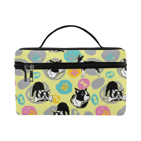 Boston Terrier Pattern Cosmetic Bag/Large - TeeAmazing