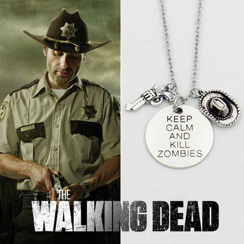 Vintage The Walking Dead Rick's Gun & Hat Necklace three pendants keep clam and kill zombies jewelry - TeeAmazing