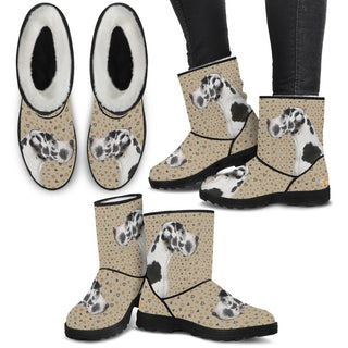 Women's Great Dane Fur Boots - Custom Winter Boots - TeeAmazing