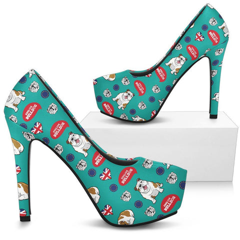 English Bulldog Pattern High Heels - Custom High Heels for Women