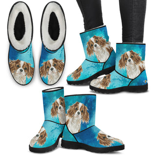 Women's Cavalier King Charles Spaniel Fur Boots - Custom Winter Boots - TeeAmazing