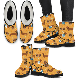 Women's Dachshund Pattern Fur Boots - Custom Winter Boots - TeeAmazing