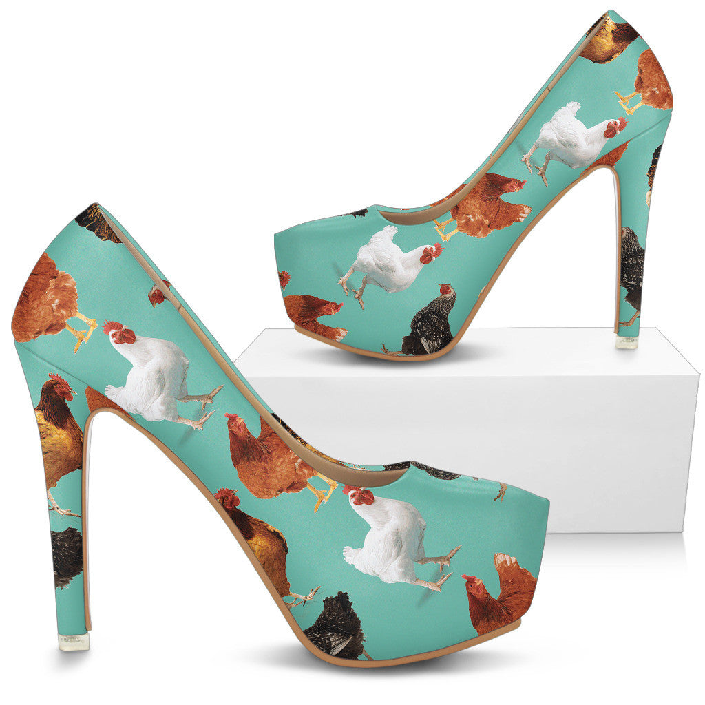 Chicken Pattern High Heels - Custom High Heels for Women - TeeAmazing