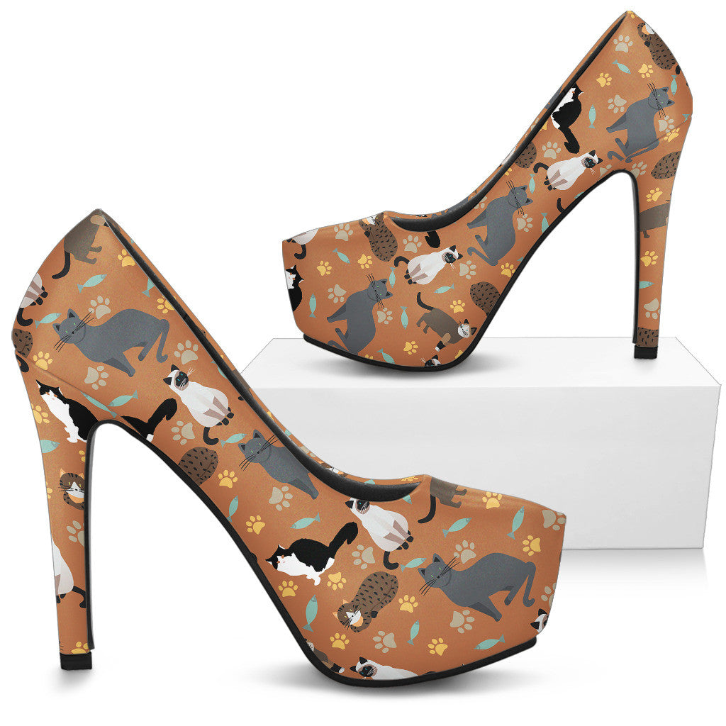 Cat Pattern High Heels - Custom High Heels for Women - TeeAmazing