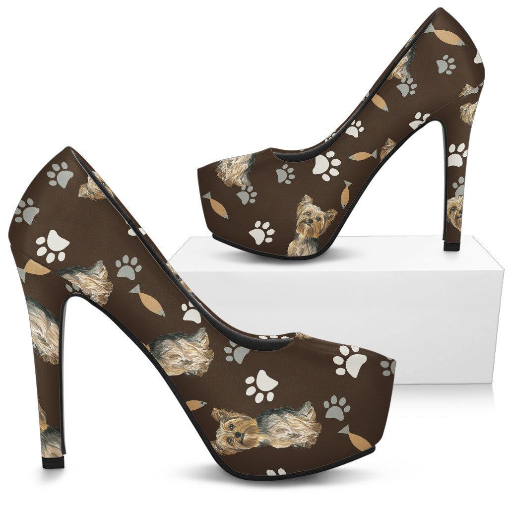 Yorkshire Terrier Water Colour Pattern No.1 High Heels - Custom High Heels for Women - TeeAmazing
