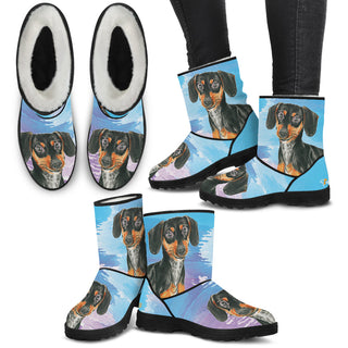 Women's Dachshund Fur Boots - Custom Winter Boots - TeeAmazing