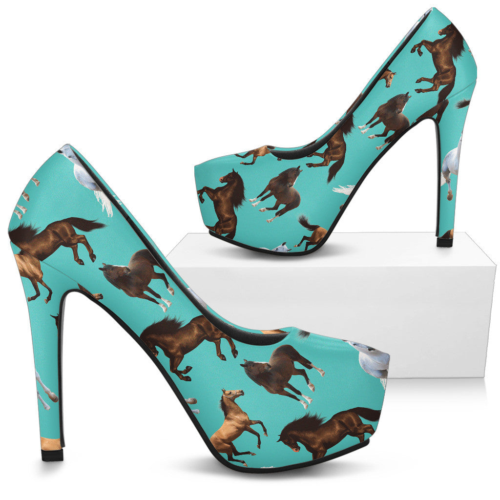 Horse Pattern High Heels - Custom High Heels for Women - TeeAmazing