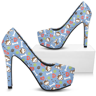 Alaskan Malamute Pattern High Heels - Custom High Heels for Women - TeeAmazing