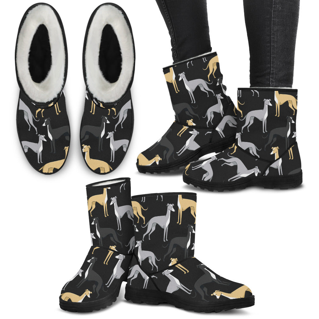 Women's Greyhound Fur Boots - Custom Winter Boots - TeeAmazing