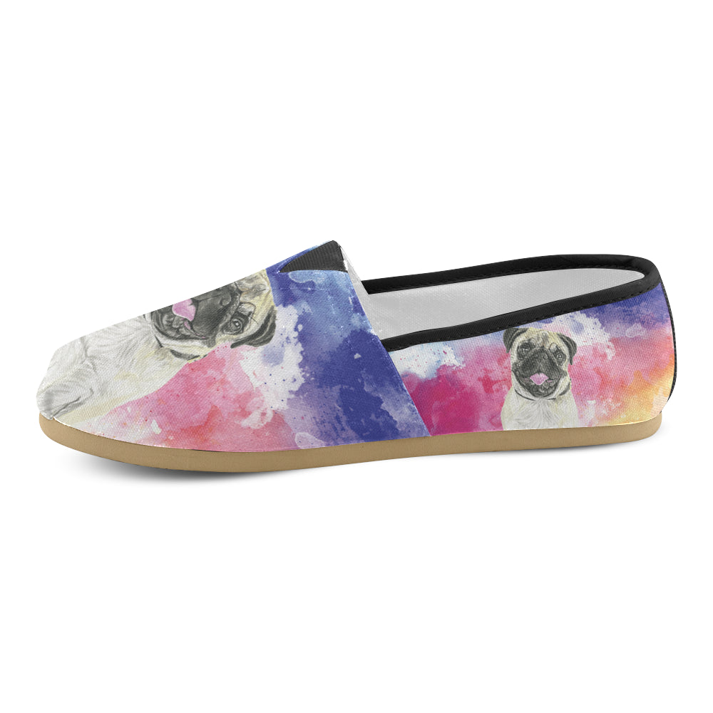Pug Water Colour No.1 Women's Casual Shoes - TeeAmazing