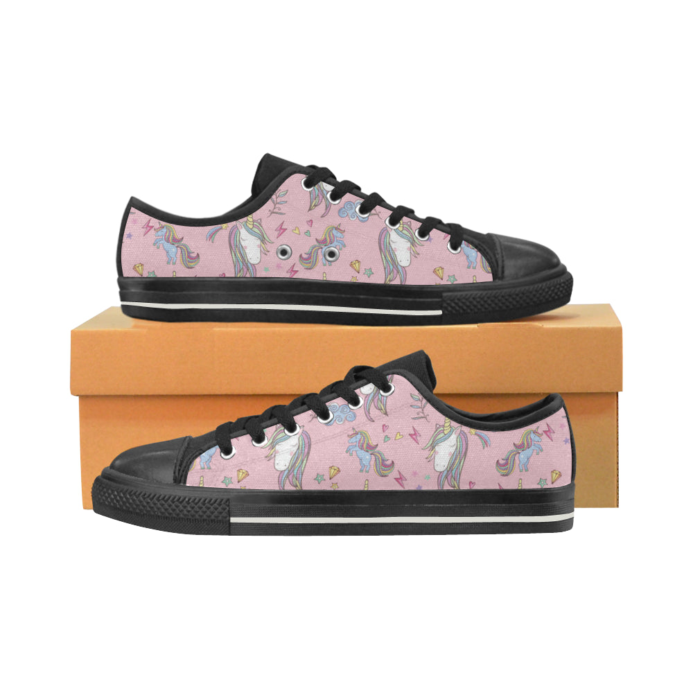 Unicorn Pattern V2 Black Low Top Canvas Shoes for Kid - TeeAmazing