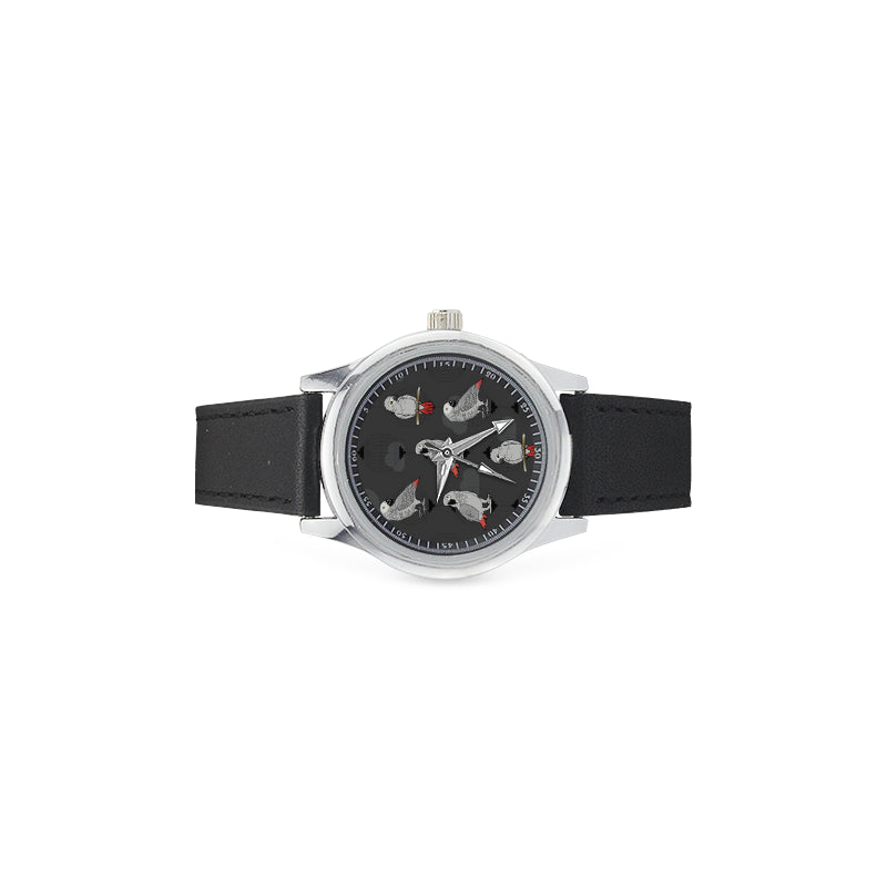 African Greys Kid's Stainless Steel Leather Strap Watch - TeeAmazing