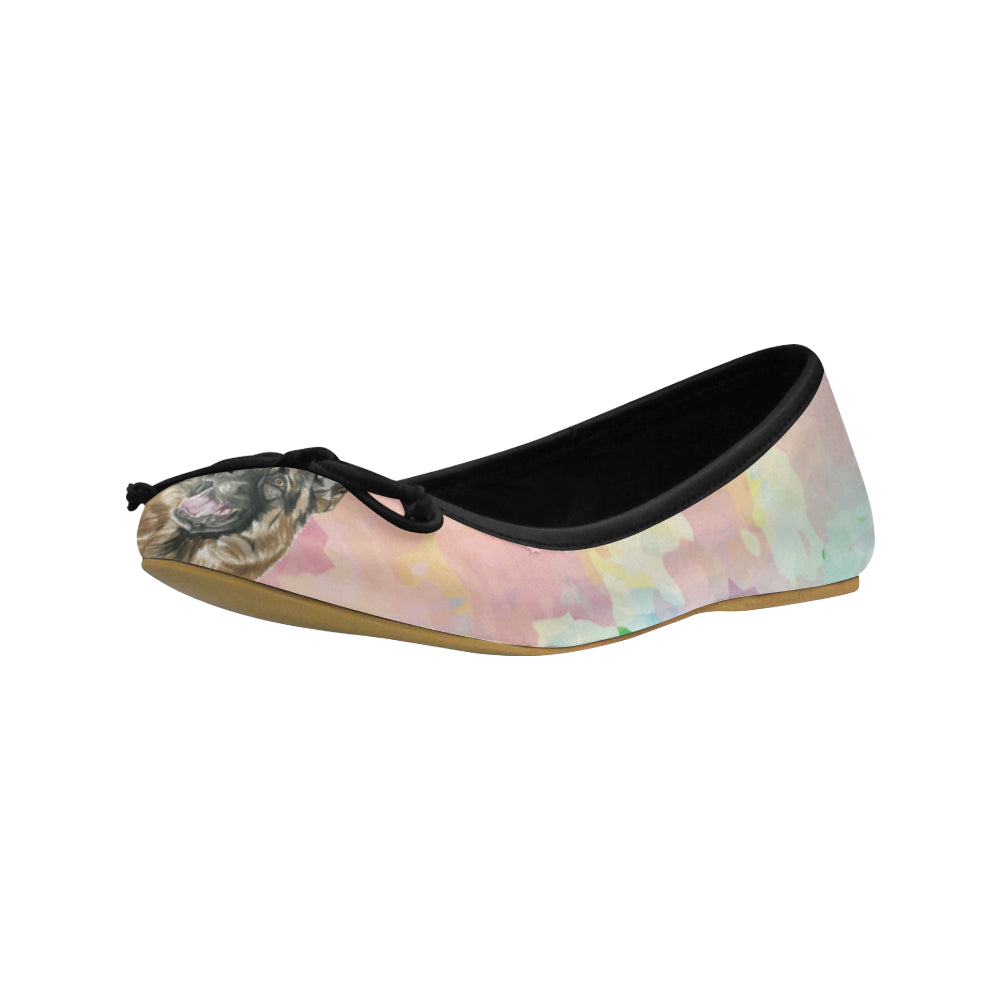 German Shepherd Water Colour No.2 Juno Ballet Pumps - TeeAmazing