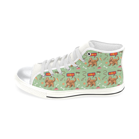 American Cocker Spaniel Pattern White High Top Canvas Women's Shoes/Large Size (Model 017) - TeeAmazing