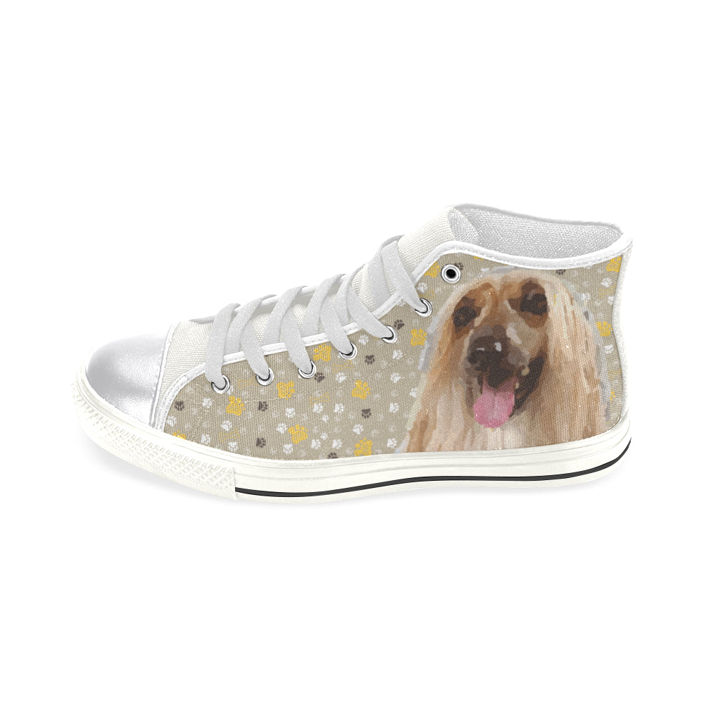 Afghan Hound White Women's Classic High Top Canvas Shoes - TeeAmazing
