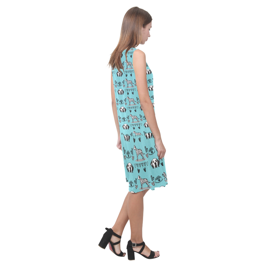 Dalmatian Pattern Sleeveless Splicing Shift Dress - TeeAmazing