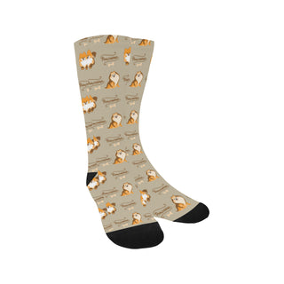 Pomeranian Pattern Trouser Socks - TeeAmazing