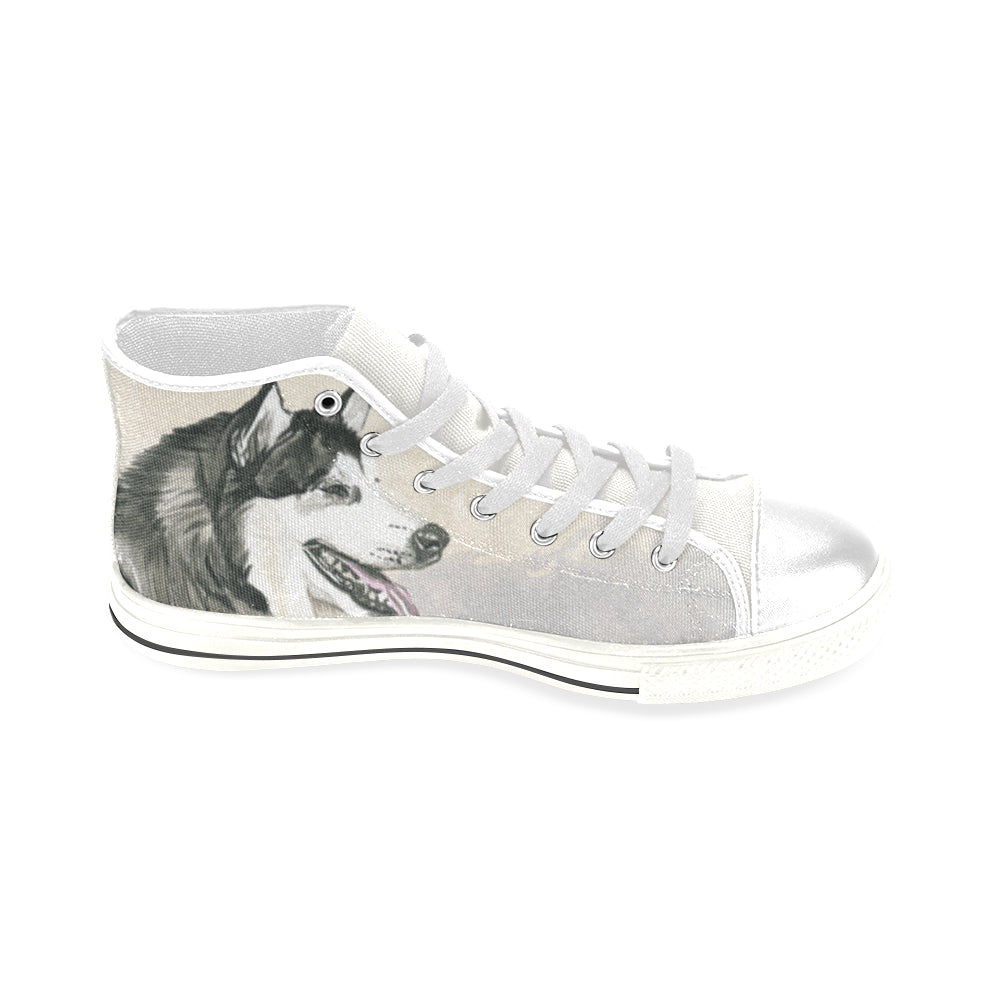 Alaskan Malamute Water Colour White Men's Classic High Top Canvas Shoes - TeeAmazing