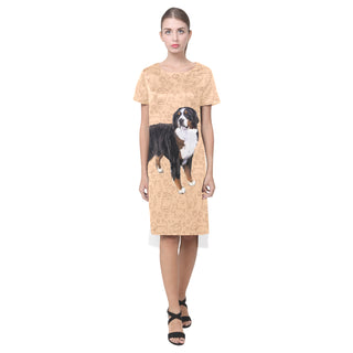 Bernese Mountain Short Sleeves Casual Dress - TeeAmazing