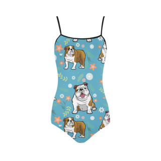 English Bulldog Flower Strap Swimsuit ( Model S05) - TeeAmazing