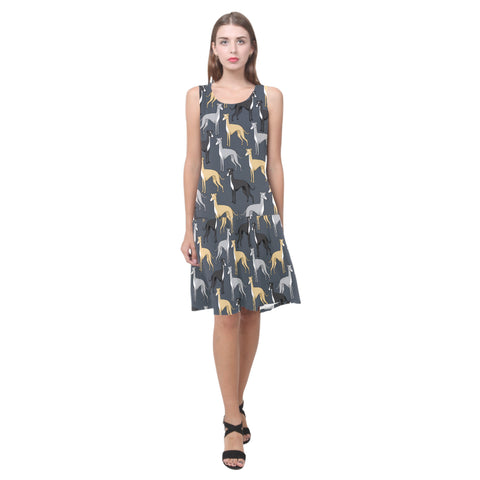 Greyhound Sleeveless Splicing Shift Dress(Model D17) - TeeAmazing