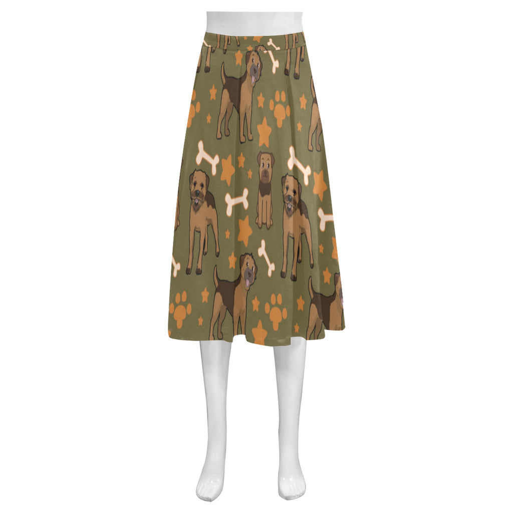 Border Terrier Pattern Mnemosyne Women's Crepe Skirt (Model D16) - TeeAmazing