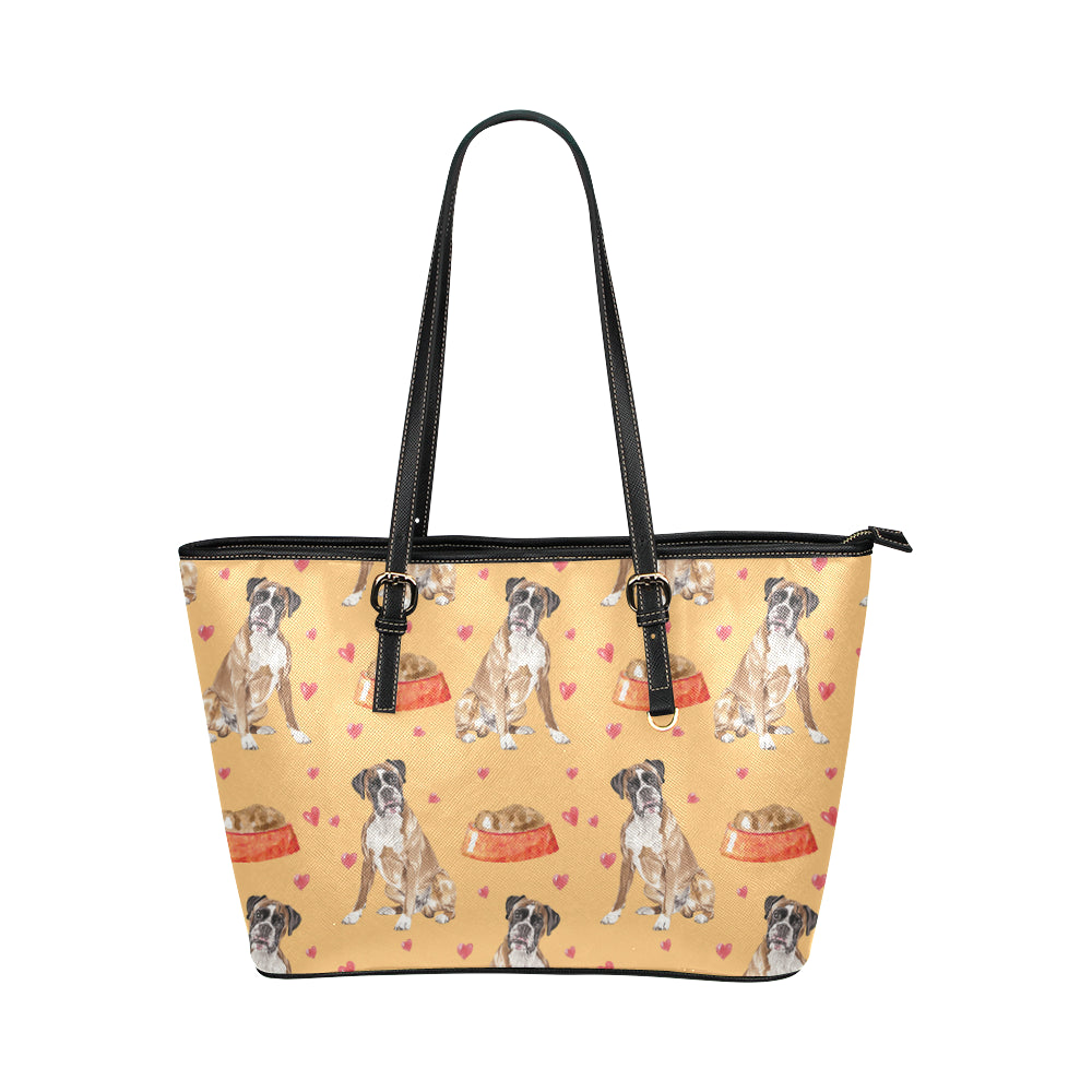 Boxer Water Colour Pattern No.1 Leather Tote Bag/Small - TeeAmazing