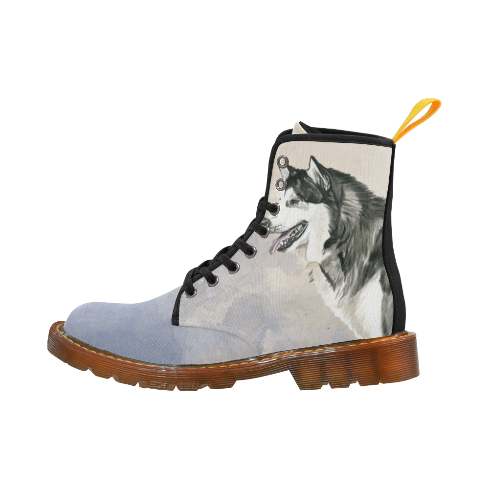 Alaskan Malamute Water Colour Black Martin Boots For Women Model 1203H - TeeAmazing