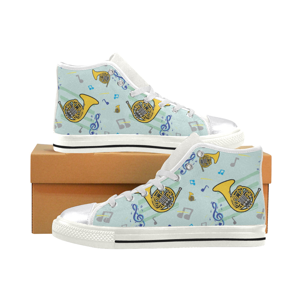 French Horn Pattern White Women S Classic High Top Canvas Shoes