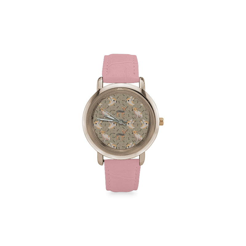 Chihuahua Women's Rose Gold Leather Strap Watch - TeeAmazing