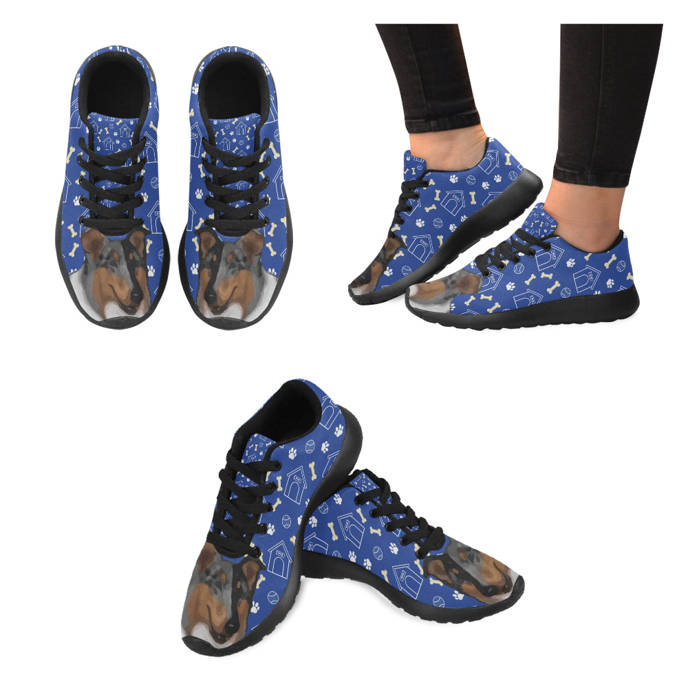 Collie Dog Black Sneakers for Women - TeeAmazing