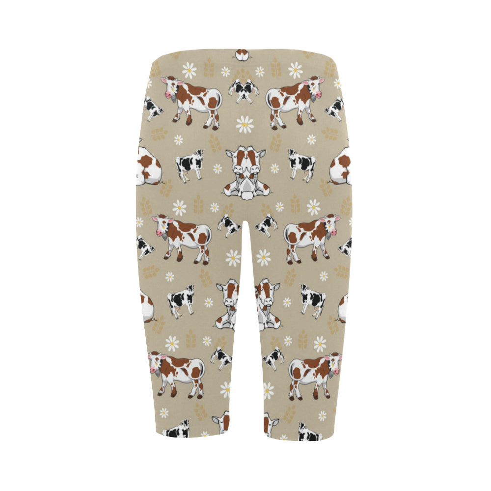 Cow Pattern Hestia Cropped Leggings (Model L03) - TeeAmazing