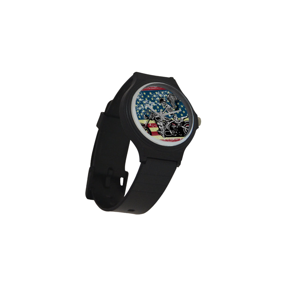 Skeleton Biker Unisex Round Plastic Watch - TeeAmazing