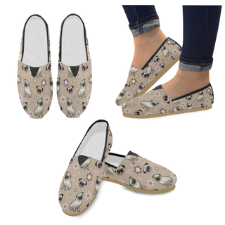 Pug Flower Women's Casual Shoes - TeeAmazing
