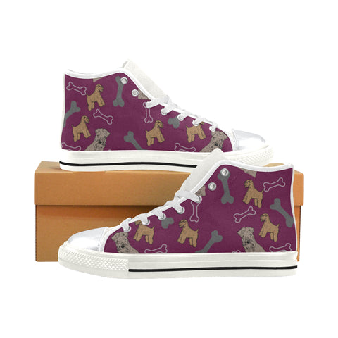 Soft Coated Wheaten Terrier White High Top Canvas Women's Shoes/Large Size (Model 017) - TeeAmazing