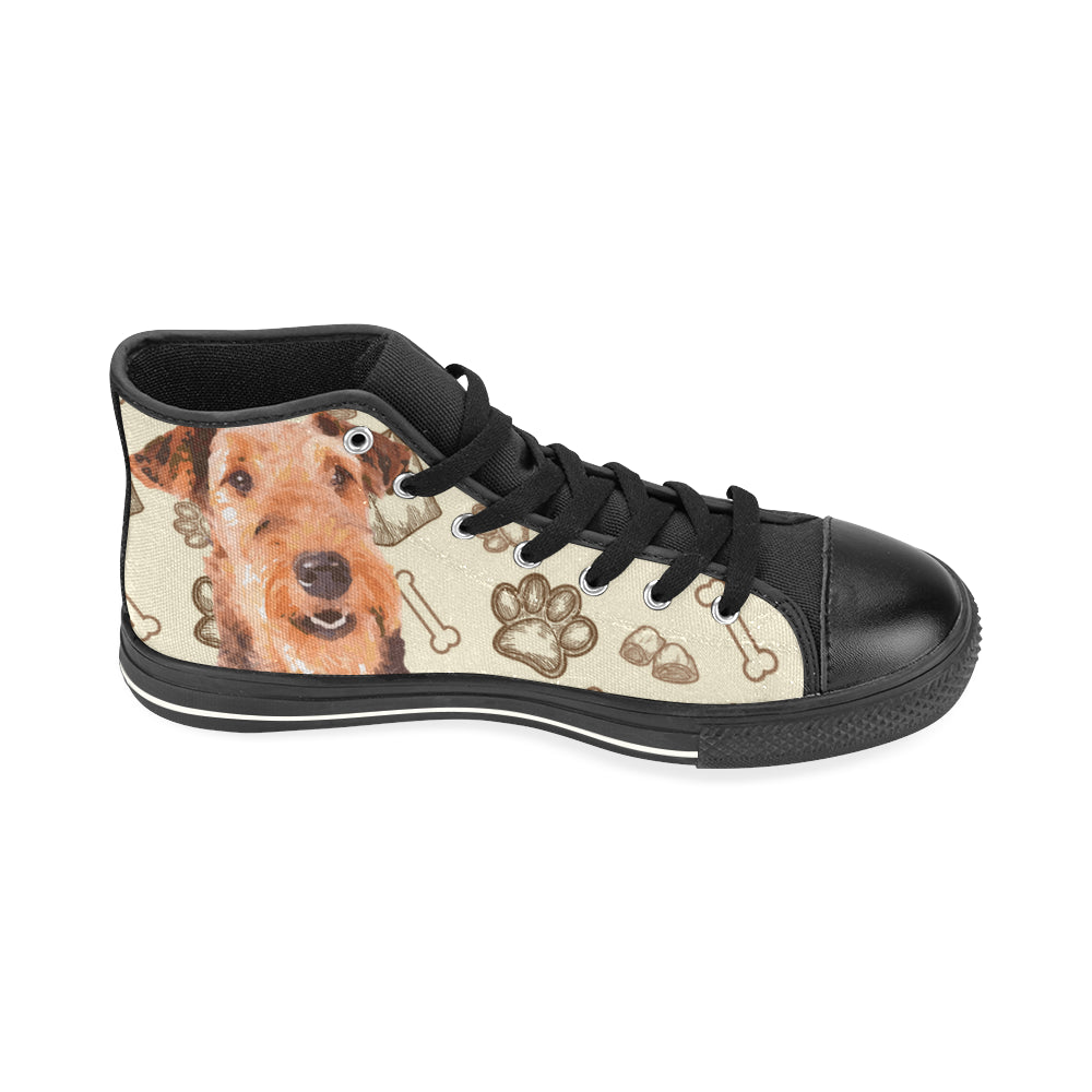 Airedale Terrier Black High Top Canvas Women's Shoes/Large Size - TeeAmazing