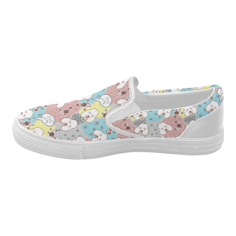 Poodle Pattern White Women's Slip-on Canvas Shoes (Model 019) - TeeAmazing