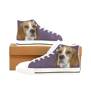 English Pointer Dog White Men's Classic High Top Canvas Shoes /Large Size (Model 017) - TeeAmazing
